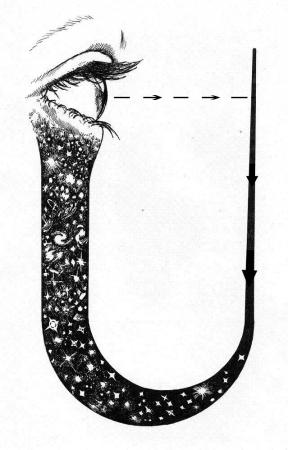 """Universul ca un circuit ce se creeaza pe sine insusi. Simbolul a fost desenat pentru prima oara de Archibald Wheeler in lucrarea lui """"Lege fara de Lege"""". ochiul reprezinta sinele, observatorul iar linia reprezinta ceea ce percepe ca sistem extern. Cele doua sisteme sunt conectate pentru a demonstra un singur sistem unificat."""