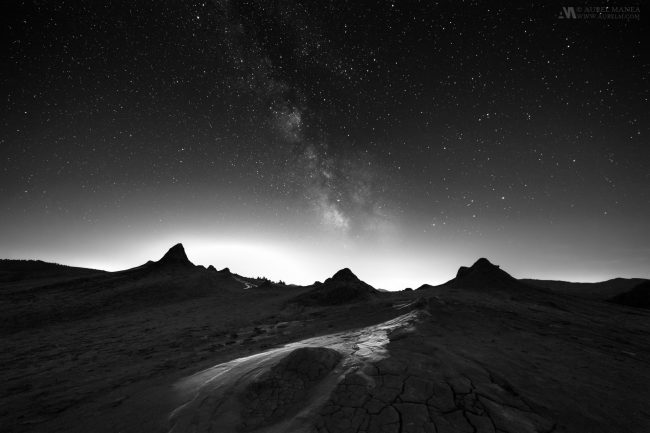 Muddy Volcanoes in Romania in Black and white